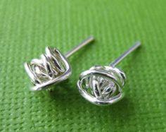 Wire Knot Silver Stud Earrings - Handmade Silver Jewelry - Post Earrings, Best Seller, Knot Earrings