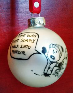 Calvin and Hobbes Snowmen / Lord of the Rings Mash-up Ornament- 'One does not simply walk into Mordor'