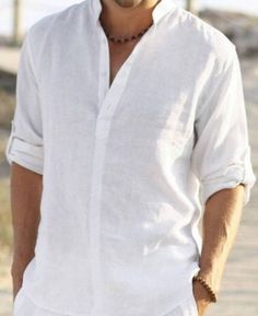 Man white linen shirt beach wedding party special occasion birthday summer by Maliposhaclothes on Etsy Beach Wedding Groom Attire, Beach Wedding Men, All White Wedding, Beach Attire, Trendy Wedding, Men Beach, Mens Informal Wedding Attire, Beach Groom, Outfit Beach