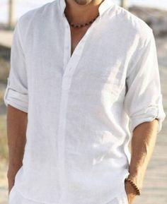 Man white linen shirt beach wedding party by Maliposhaclothes
