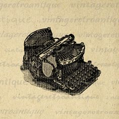 Digital Graphic Old Fashioned Typewriter Image Printable Typewriter Illustration Download Vintage Clip Art. Vintage digital image graphic from retro artwork. This high quality, high resolution printable digital artwork works well for iron on transfers, making prints, pillows, t-shirts, tea towels, and more great uses. Personal or commercial use. This image is high quality and high resolution at size 8½ x 11 inches. Transparent background version included with every digital image.