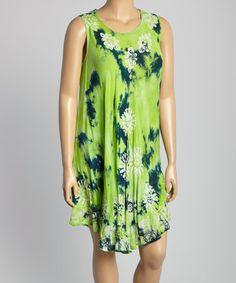 Green Tie-Dye Scoop Neck Dress - Plus #zulily #zulilyfinds
