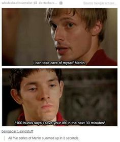 oh my gosh yes legit every episode is Merlin saving Arthur's idiot ass << Lmao, that's it everyone go home. That's the show. Merlin Memes, Merlin Funny, Bradley James, Hunger Games, Merlin Serie, It's Over Now, Merlin Fandom, Merlin And Arthur, King Arthur