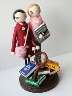 wedding cake topper by lace&rubbish; note the scott pilgrim book. yay!