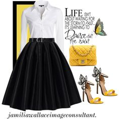 A fashion look from January 2015 featuring NIC+ZOE blouses, Chicwish skirts and Ralph Lauren belts. Browse and shop related looks.