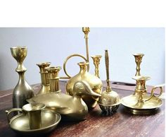 Your place to buy and sell all things handmade Brass Candle Holders, Vintage Candle Holders, Candle Holder Set, Timeless Elegance, Candlesticks, Tulip, Light Up, Vintage Items, Mid Century