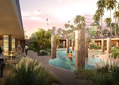 """MVRDV is to replace a flooded shopping centre in the Taiwanese city Tainan with a lagoon to create a """"hip urban pool"""" and artificial beach"""