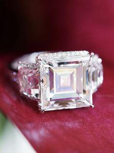 The artistry of a Carre Cut Diamond ring. Beautiful Wedding Rings, Vintage Diamond Rings, Gemstone Colors, Jewelry Trends, Diamond Cuts, Jewelery, Sapphire, Fashion Jewelry, Bling