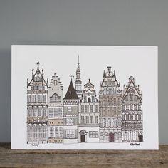 Antwerp Print -  A4 Skyline Illustration