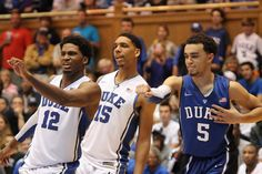 Justise Winslow, Jahlil Okafor, and Tyus Jones of Duke.I miss these boys! Duke Basketball Players, Duke Bball, Basketball Coach, Football And Basketball, Tyus Jones, Cameron Crazies, Justise Winslow, Grayson Allen, Coach K