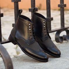 The Women's Military Brogue Boot in Black Box Calf Leather with Grey Luxe Suede - Robert August Apparel Custom Made Shoes, Custom Design Shoes, Black Box, Vintage Groom, How To Make Shoes, Brogues, Calf Leather, Me Too Shoes, Women's Shoes