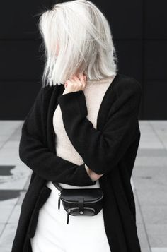 Cardigan: long coat, black cardigan, minimalist, belt bag, mini bag, platinum hair, short hair - Wheretoget