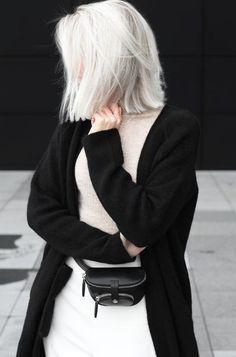 Cardigan: long coat, black cardigan, minimalist, belt bag, mini bag, platinum hair, short hair - Wheretoget