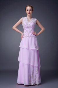 Customize Lilac Empire V-neck Theme Costumes Dress Decorated Appliques
