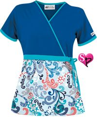 UA+Spring+Swirl+Blue+Print+Mock+Wrap+Scrub+Top Cute Scrubs Uniform, Cute Nursing Scrubs, Scrubs Outfit, Beauty Salon Uniform Ideas, Medical Scrubs, Cute Nurse, Scrub Tops, Work Attire, Short Skirts