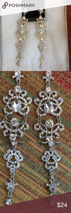 Crystal earrings pierced ears party celebration Austrian crystals adorn these silver plate statement earrings. For pierced ears. Jewelry Earrings