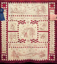 River City Quilt Guild – Day 4 ('Tis the Season!) Quilt Inspiration: River City Quilt Guild – Day 4 ('Tis the Season! Folk Embroidery, Christmas Embroidery, Embroidery Patterns, Quilt Patterns, Red Work Embroidery, Vintage Embroidery, Machine Embroidery Quilts, Quilting Projects, Quilting Designs