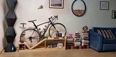 Modern Interior Design and Space Saving Storage Ideas for Bicycle Enthusiasts - - Modern interior design brings bikes into rooms offering attractive bike stands and wall racks for their storage and creative home decorating. Bike Storage Small Space, Vertical Bike Storage, Indoor Bike Storage, Bicycle Storage, Space Saving Storage, Small Storage, Creative Storage, Bike Storage Solutions, Storage Ideas