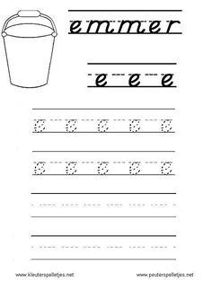 LETTER E   letters leren herkennen en schrijven, alfabet printbladen a t/m z