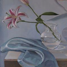Stargazer Lily on Blue by Sarah Sedwick