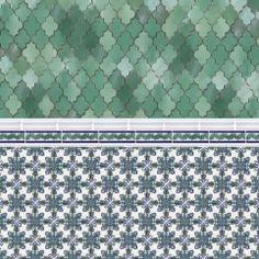 Mozaik Ceramic Tile: Mesh-Mounted Mamounia Tiles