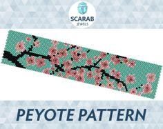 Flamingos Pattern Peyote Bead Bracelet / Cuff by ScarabJewels