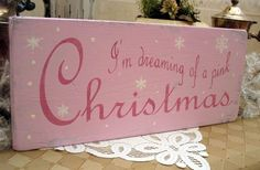 PINK CHRISTMAS sign I'm dreaming of a rustic pink sign wooden holiday sign hand…