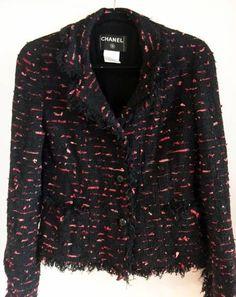 CHANEL Black Tuft Fringe Boucle Jacket with Piink/Red Ribbon Very Rare #CHANEL #BasicJacket