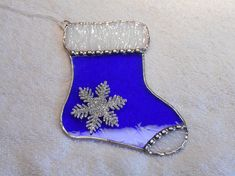 Stained Glass Christmas Stocking in Blue  Handcrafted in