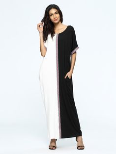 SheIn offers Color Block Woven Tape Maxi Dress & more to fit your fashionable needs. Plus Size Maxi Dresses, White Maxi Dresses, Trendy Dresses, Floral Maxi Dress, Casual Dresses For Women, Short Sleeve Dresses, Dresses With Sleeves, Clothes For Women, Long Sleeve