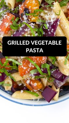 The perfect easy recipe for #meatlessmonday this Grilled Vegetable Pasta is high protein, full of veggies, and ready in just 15 minutes! #dinner #pasta #easyrecipes Pasta Recipes For Lunch, Vegetable Pasta Recipes, Vegetarian Pasta Recipes, Yummy Pasta Recipes, Vegetable Seasoning, Grilled Bell Peppers, Stuffed Peppers, Grilled Vegetables, Veggies