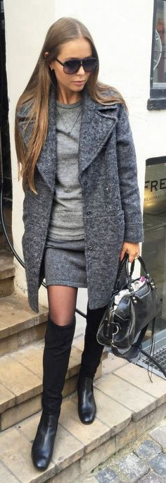 Maria Kragmann Grey Cashmere Skirt Fall Inspo