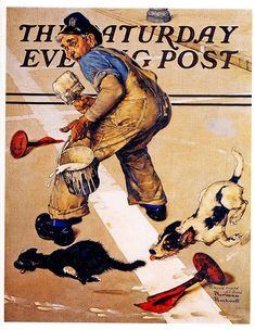 1937 ... Roadline Painters Problem- Norman Rockwell
