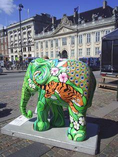 "Copenhagen, Denmark - Elephant Parade 2011 - ""Mosha the World at Your Feet"" - 103 fiberglass elephants, 5 feet high"