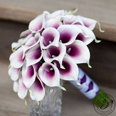 """""""Picasso in Style"""" large bridal calla lily wedding bouquet with real touch callas purple middle Elegant and classy bouquet with the signature wedding flower: calla lily! Realistic look and feel, this hand-tied bouquet has real touch calla lilies and exposed stems. Made with about 3 #weddingbouquets"""