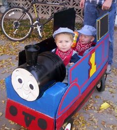 Thomas the Train and Engineers. Made from a box and a red wagon.  The head is 5 gal. bucket.