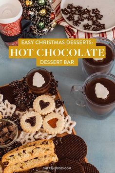 the easiest dessert table idea that looks beautiful! if you love hot chocolate and sweets, make this dessert charcuterie board for the holidays. dessert bar, dessert board, hot chocolate, christmas baking, christmas desserts, holiday baking, holiday cookies, dessert charcuterie board #dessert #christmas #baking Christmas Desserts Easy, Simple Christmas, Rustic Christmas Ornaments, Christmas Decor, Holiday Baking, Christmas Baking, Dessert Bars, Dessert Table, Party Desserts