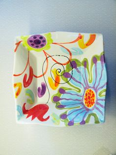 Large Square Bowl Jubilation Large Flareware Bowl by romyandclare Painted Ceramic Plates, Ceramic Wall Art, Ceramic Tableware, Ceramic Decor, Tile Art, Ceramic Painting, Pottery Painting Designs, Pottery Designs, Keramik Design