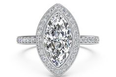 Marquise Cut Vintage Halo Micropavé Diamond Band Engagement Ring in Palladium 0.29 CTW