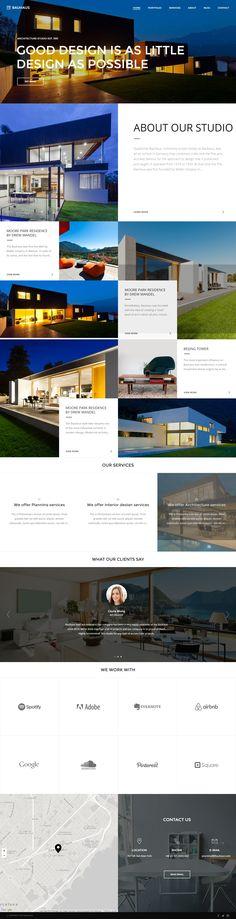 Bauhaus – Architecture & Portfolio WordPress Theme http://wpmosaic.com/bauhaus-architecture-portfolio-wordpress-theme/