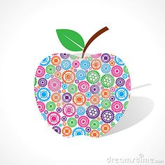 Group of gear make a apple
