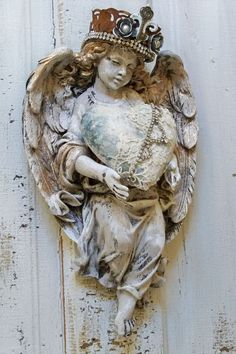 Angel sculpture adorned French chic statue wall figurine with crown hand painted distressed home decor Anita Spero