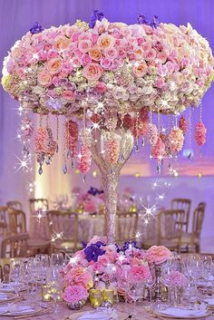 This gives me fairytale wedding. Flower arrangement with Swarovski crystals by Wedding Planner Preston Bailey Floral Centerpieces, Wedding Centerpieces, Wedding Table, Floral Arrangements, Wedding Decorations, Flower Arrangement, Centrepieces, Deco Floral, Floral Design