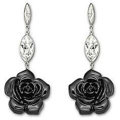 Earrings Black Roses