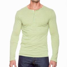 """""""Huron""""   Olive Perfect Henley"""