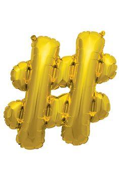"""16"""" Foil Hashtag : Gold"""