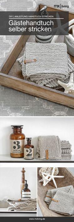 Strickidee Gästehandtuch kraus rechts selber stricken #diy #stricken #Handtuch #anleitung #knit #grey