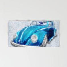 VW Beetle Blue Hand & Bath Towel #towel #bathroom #VW #Volkswagen #Beetle #Bug #Blue #home #hand #bath #beach