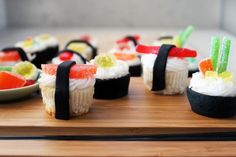 Sushi Cupcakes l Brit + Co. (Mini cupcakes with fondant and gummy candy)