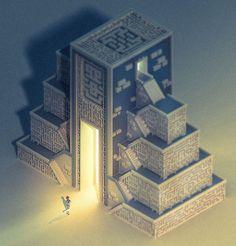 Temple - Voxel art on Behance